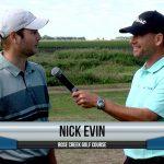 Nick Evin being interviewed by Dave Schultz