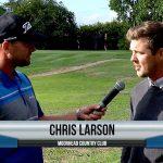 Chris Larson being interviewed by Dave Schultz