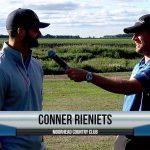 Conner Rieniets being interviewed by Dave Schultz