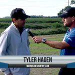 Tyler Hagen being interviewed by Dave Schultz